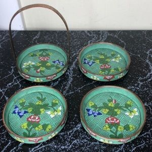 Vintage Chinese cloisonné enamel coaster set